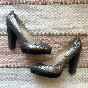 NEW Calvin Klein Snake Print Pumps Chunky Heel